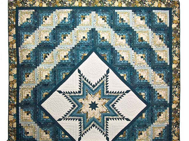 Watery Blue and Gold Feathered Star Log Cabin Quilt Photo 2