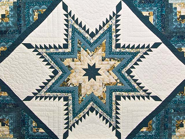Watery Blue and Gold Feathered Star Log Cabin Quilt Photo 3
