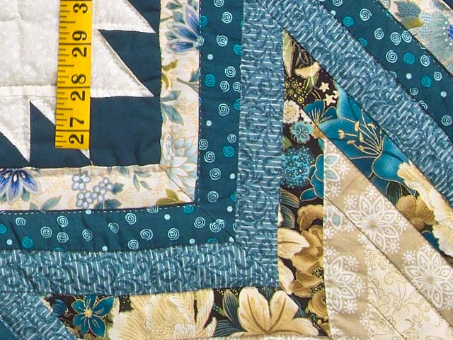 Watery Blue and Gold Feathered Star Log Cabin Quilt Photo 5