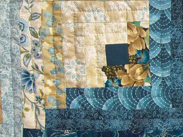 Watery Blue and Gold Feathered Star Log Cabin Quilt Photo 6