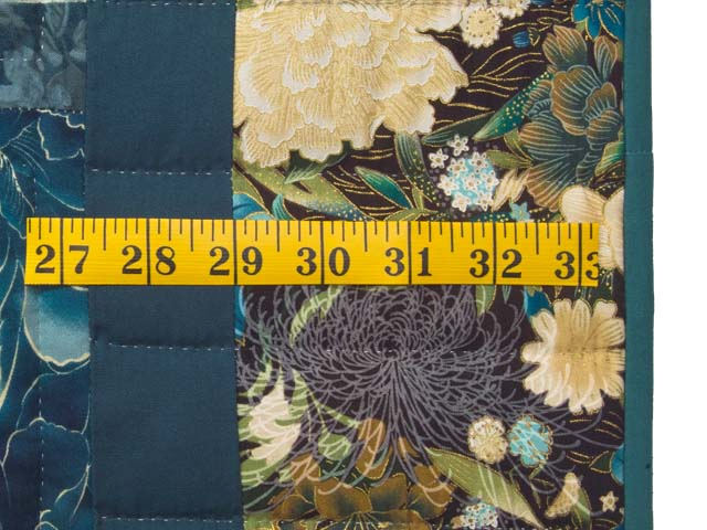 Watery Blue and Gold Feathered Star Log Cabin Quilt Photo 7
