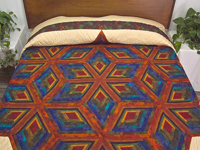 King Red Mauve and Multicolor  Diamond Star Log Cabin Quilt Photo 1
