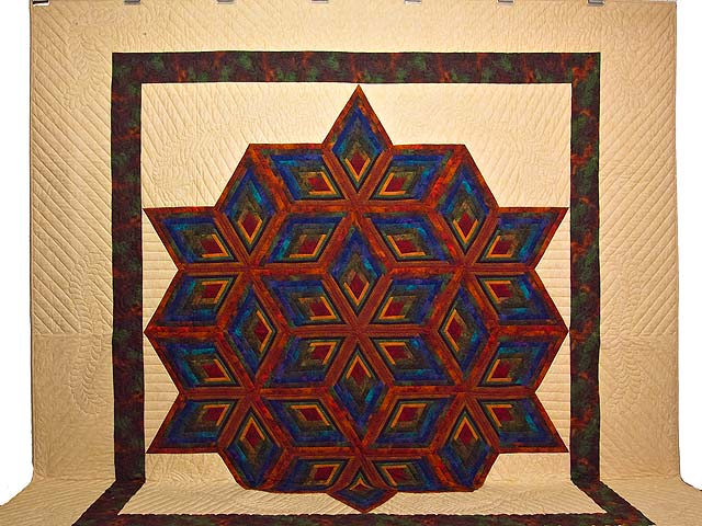 King Red Mauve and Multicolor  Diamond Star Log Cabin Quilt Photo 2