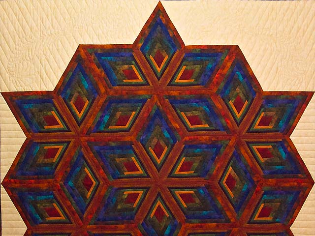 King Red Mauve and Multicolor  Diamond Star Log Cabin Quilt Photo 3