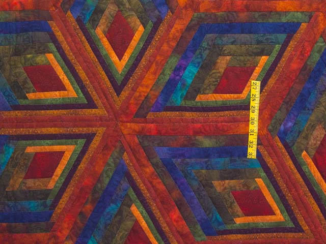 King Red Mauve and Multicolor  Diamond Star Log Cabin Quilt Photo 4