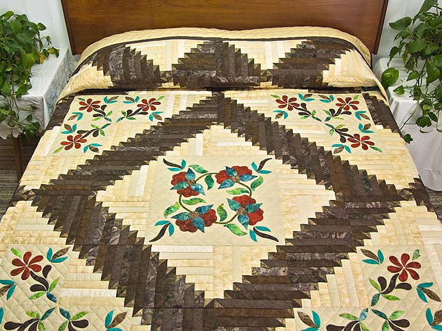 King Golden Tan Brown and Multi  Elizabeth Quilt Photo 1
