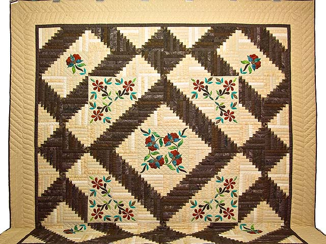 King Golden Tan Brown and Multi  Elizabeth Quilt Photo 2