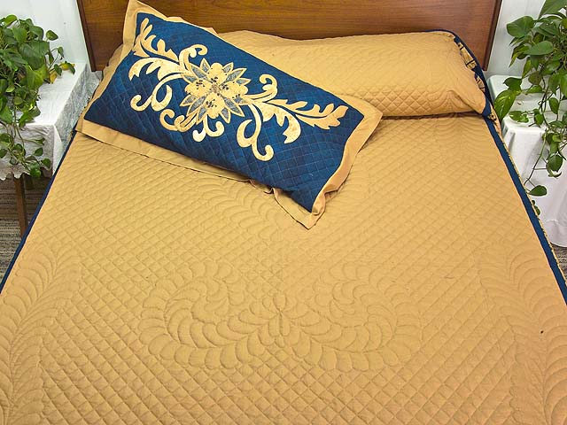 King Gold and Navy Ruby Quilt with Shams Photo 1