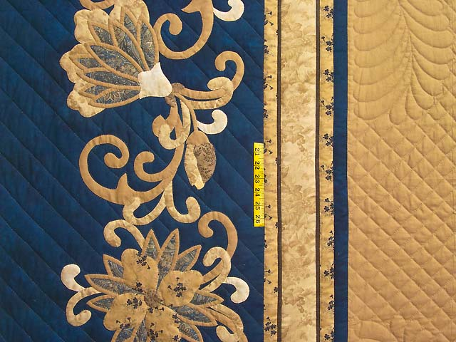 King Gold and Navy Ruby Quilt with Shams Photo 4