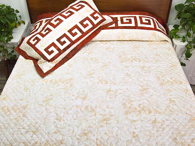 King Red and Golden Cream Carolyn Quilt with Shams Photo 1