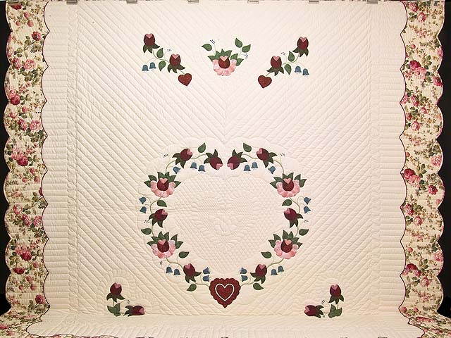 King Rose Blue and Green Heart of Roses Quilt Photo 2