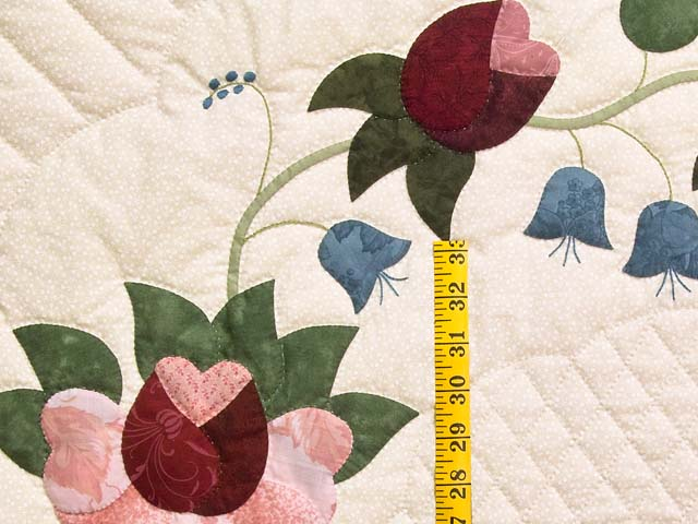 King Rose Blue and Green Heart of Roses Quilt Photo 5