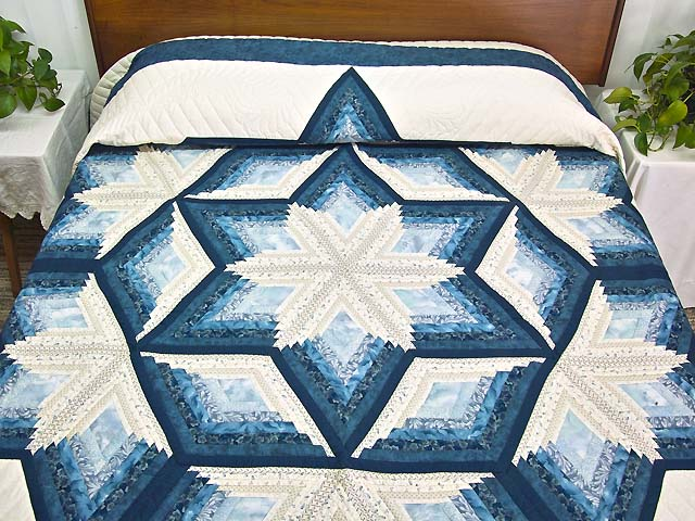 King Blue and Cream Diamond Star Log Cabin Quilt Photo 1