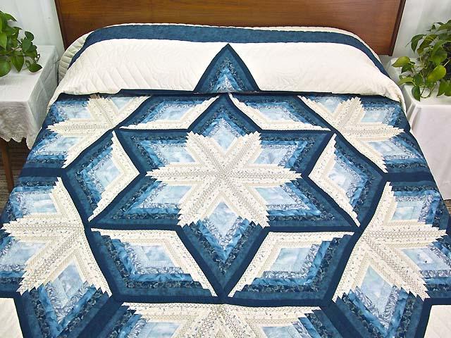 King Blue and Cream Diamond Star Log Cabin Quilt Photo 1