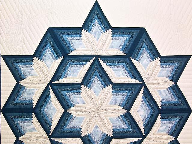 King Blue and Cream Diamond Star Log Cabin Quilt Photo 3