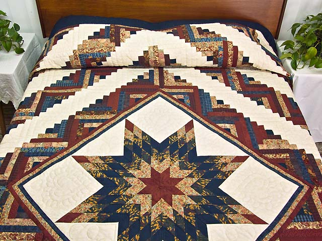 Country Colors Lone Star Log Cabin Quilt Photo 1