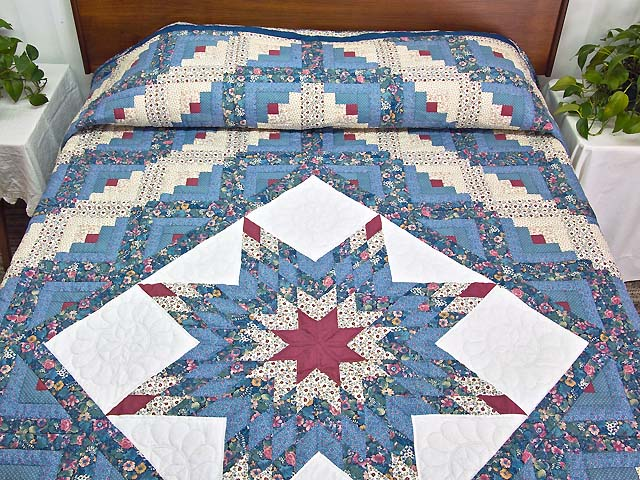 Pastel Blue Rose and Cream Lone Star Log Cabin Quilt Photo 1