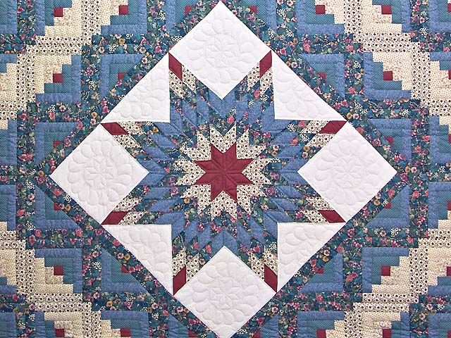 Pastel Blue Rose and Cream Lone Star Log Cabin Quilt Photo 3