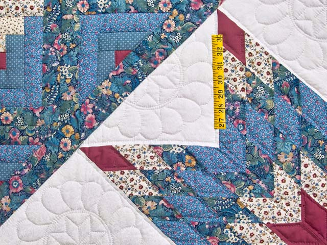 Pastel Blue Rose and Cream Lone Star Log Cabin Quilt Photo 4