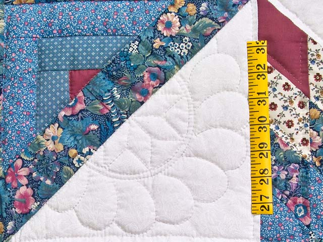Pastel Blue Rose and Cream Lone Star Log Cabin Quilt Photo 5