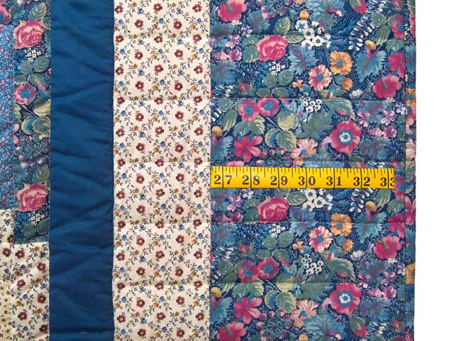 Pastel Blue Rose and Cream Lone Star Log Cabin Quilt Photo 7