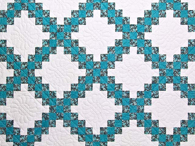 Aqua Blue and Brown Double Irish Chain Quilt Photo 3