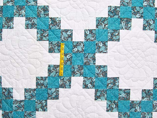 Aqua Blue and Brown Double Irish Chain Quilt Photo 4