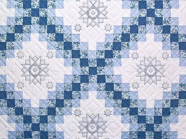 King Blue and Ivory Cross Stitch Irish Chain 
