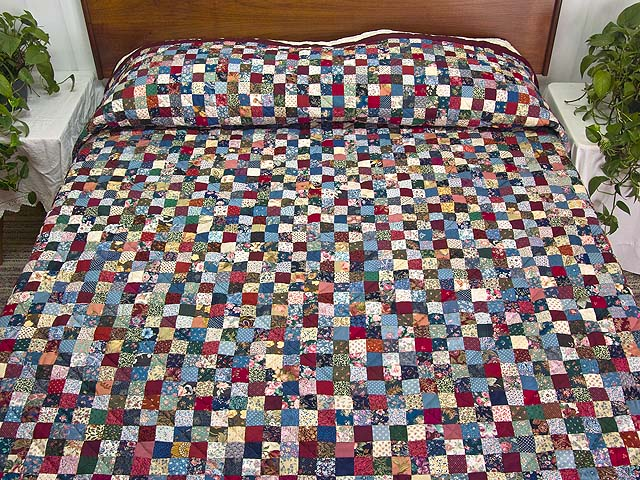 King Navy Burgundy and Multicolor Hit or Miss Quilt Photo 1