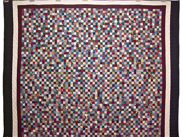 King Navy Burgundy and Multicolor Hit or Miss Quilt Photo 2