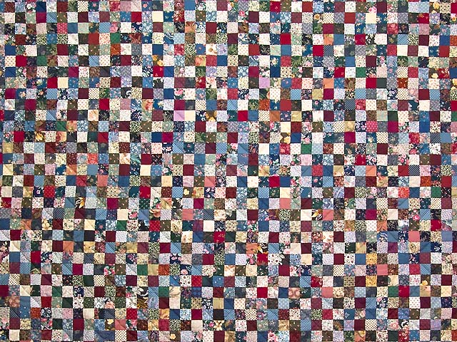 King Navy Burgundy and Multicolor Hit or Miss Quilt Photo 3