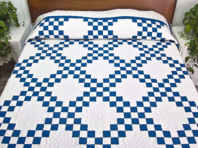 Blue and Cream Double Irish Chain Quilt Photo 1