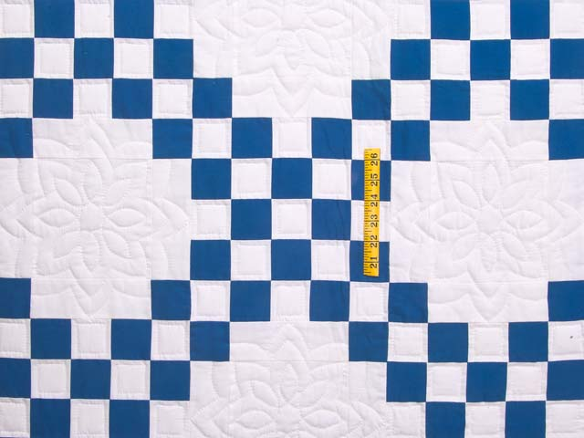Blue and Cream Double Irish Chain Quilt Photo 4