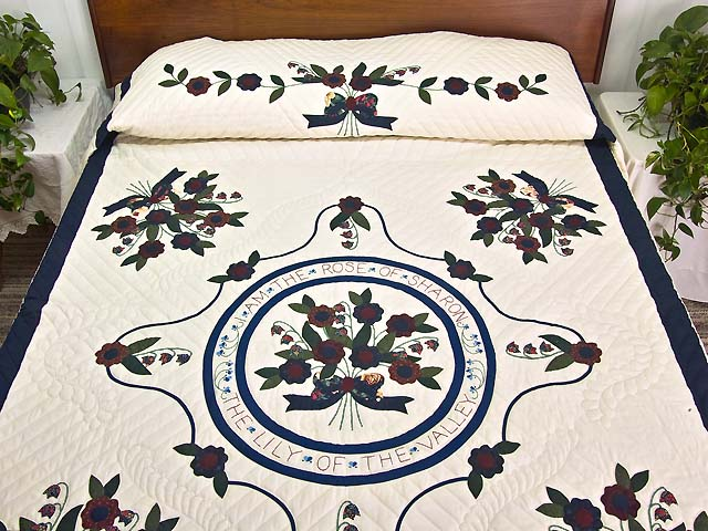 Navy and Multicolor Rose of Sharon Quilt Photo 1
