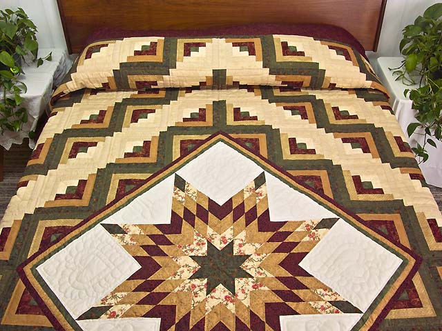 Burgundy Moss and Golden Tan Lone Star Log Cabin Quilt Photo 1