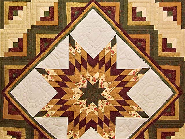 Burgundy Moss and Golden Tan Lone Star Log Cabin Quilt Photo 3