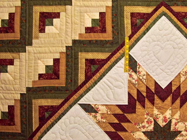 Burgundy Moss and Golden Tan Lone Star Log Cabin Quilt Photo 4