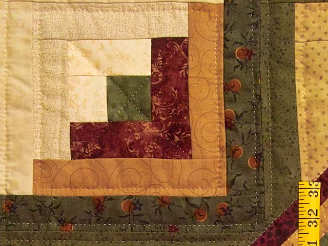 Burgundy Moss and Golden Tan Lone Star Log Cabin Quilt Photo 6