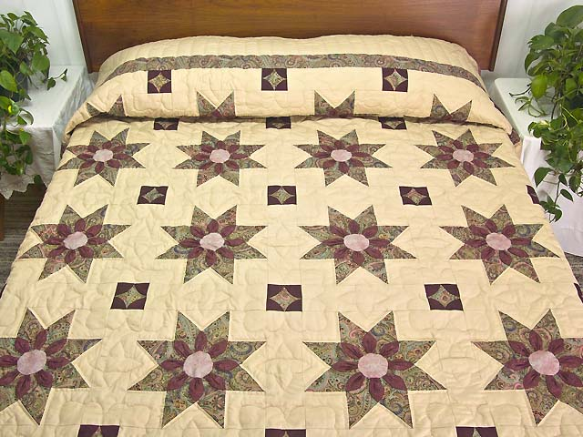 Rose Teal and Tan Dahlia Star Quilt Photo 1