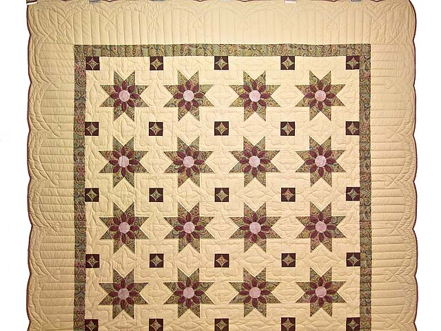 Rose Teal and Tan Dahlia Star Quilt Photo 2