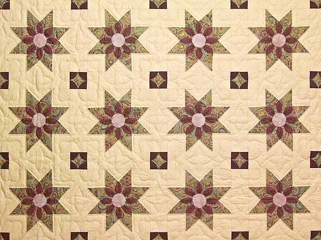 Rose Teal and Tan Dahlia Star Quilt Photo 3