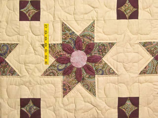 Rose Teal and Tan Dahlia Star Quilt Photo 4