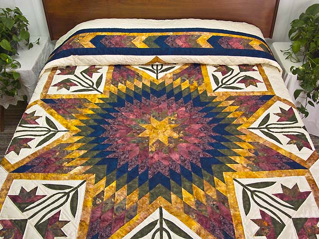 Wine Gold and Navy Flowering Star Quilt Photo 1
