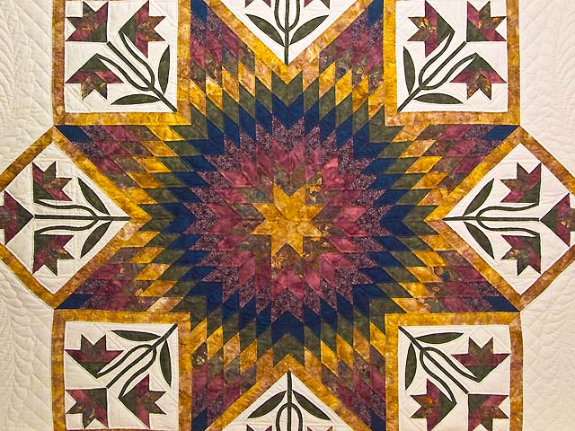 Wine Gold and Navy Flowering Star Quilt Photo 3
