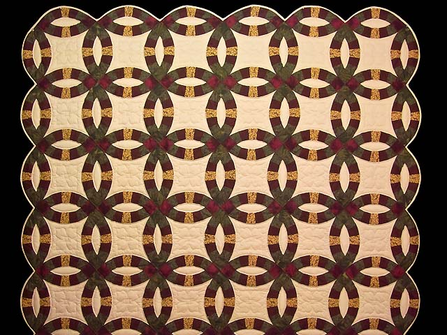 Moss Burgundy and Golden Tan Double Wedding Ring Quilt Photo 2