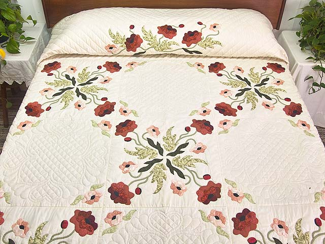 King Mint Green Poppy Field Quilt Photo 1
