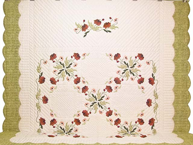 King Mint Green Poppy Field Quilt Photo 2