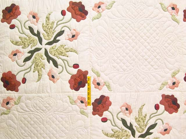 King Mint Green Poppy Field Quilt Photo 4