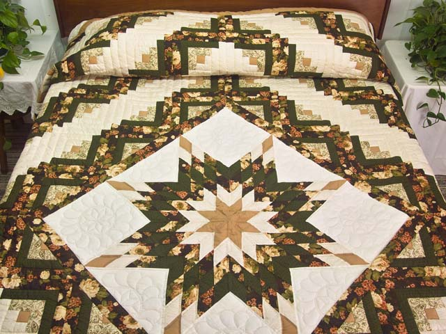 Moss Tan and Mauve Lone Star Log Cabin Quilt Photo 1