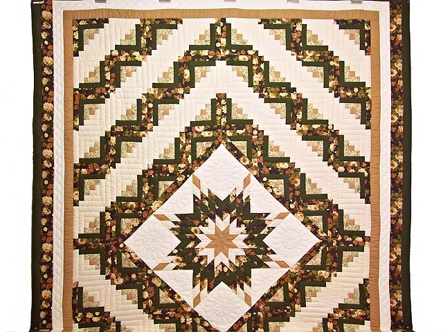 Moss Tan and Mauve Lone Star Log Cabin Quilt Photo 2